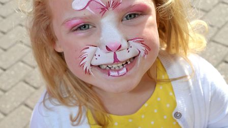 Horsefair Easter fun day, Wisbech. Olivia Ainsley shows off her painted face. Picture: Steve William