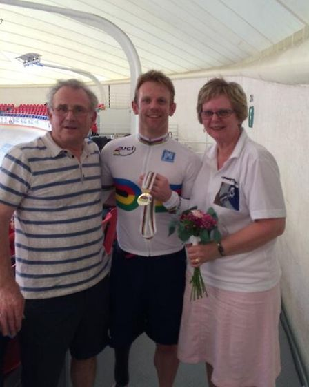 Alan and Ann Cundy with son Jody in Mexico to see their him return to winning ways