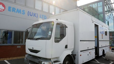 Public Health England's screening van outside the Erms factory. Picture: ROB MORRIS