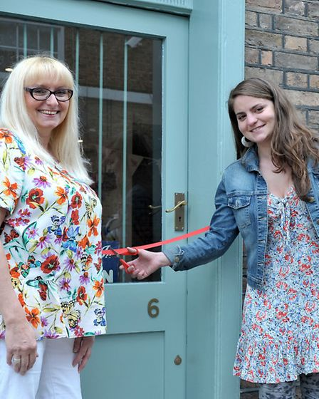 Opening of Emporium, Wisbech by poet laureate. Left: Owner Jeni Townsend and Poppy Kleiser new Fenla
