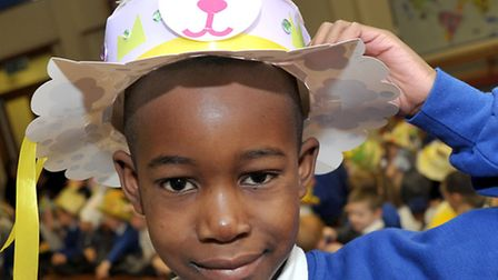 Park Lane School Whittlesey. Easter Bonnet Parade. Malachi with his Easter hat. Picture: Steve Willi