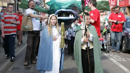 An eel is paraded along High Street at the annual Eel Day