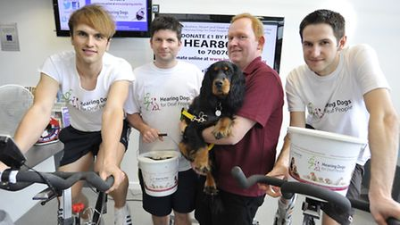 Huntingdon Regional College fundraise for Hearing Dogs for Deaf, (l-r) Andrew Brett, Dean Constant,