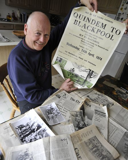Quindem to Blackpool ride Anniversary, Bruce Pattern, with his paper cuttings, at home in Haddenham.