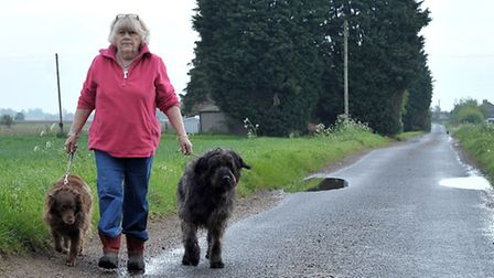 Speeding in Euximoor Drove Christchurch. Irene Brown walking her dogs on Euximoor Drove. Picture: St