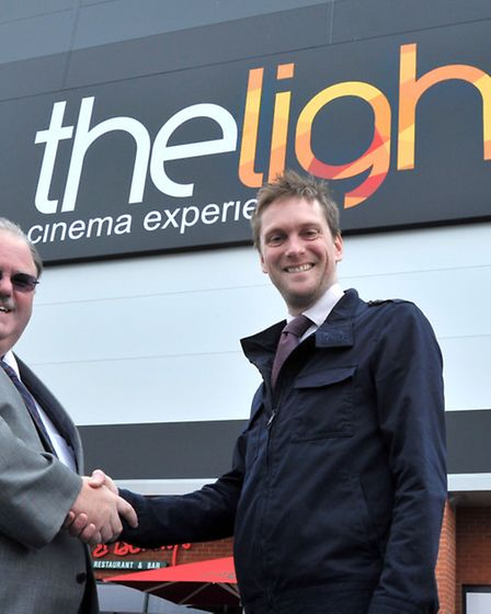 The Light Cinema, Wisbech. Left: Cllr David Oliver and Phil Dove General Manager of the Light Cinema
