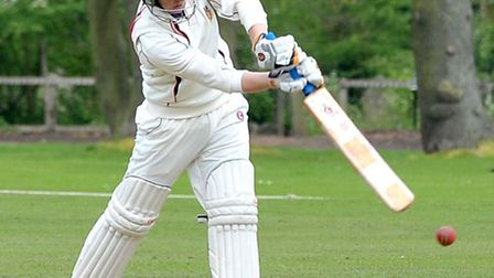 Wisbech v Warboys cricket. Josh Bowers in bat for Wisbech.Picture: Steve Williams.
