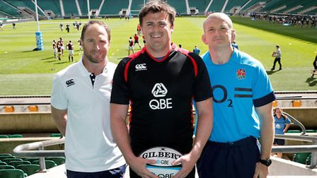 Wisbech RUFCs Jon Turner with England Rugby coaches Mike Catt and Graham Rowntree at QBE Insurance e