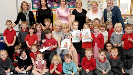 Burrowmoor preschool with their arty entries and Harrison Murray March branch sales manager, Nicola
