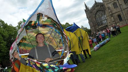 EEL day parade from Ely Cathedral Cross green to Jubilee Gardens via part of the Ely's Eel trail her