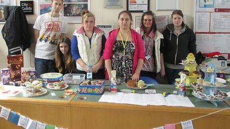 Students at the Isle campus of the College of West Anglia at their fundraising stall.