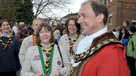 St George's Fayre, March. Mayor of March Andrew Pugh talking to the scout leaders, Picture: Steve Wi