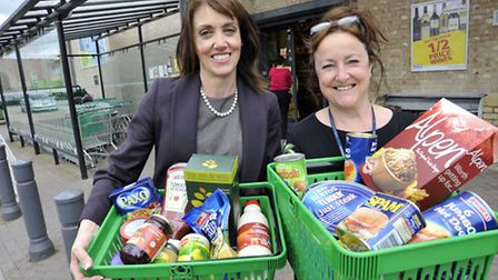 Launch of Soham Foodbank, at Budgens, Soham (l-r) Caroline Bosworth and Mary Barnes from The Childre