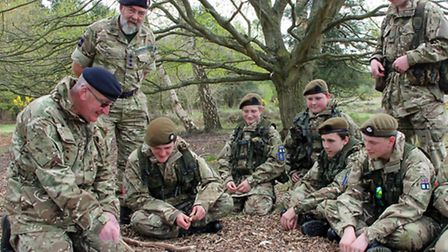 Cadets have a briefing. Picture: MAJOR MARK KNIGHT MBE