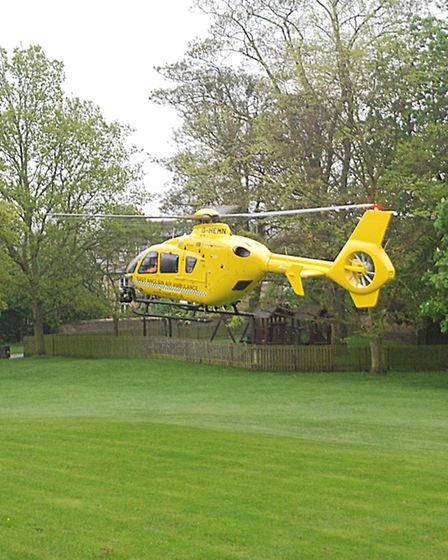 The East Anglian Air Ambulance in Ely's Cherry Hill Park. Picture: Clinton Edwards