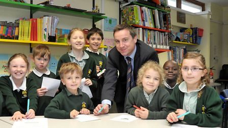Wilburton Primary School achieves a 'good' Ofsted. Pupils with the Head teacher Rob Litten. Picture: