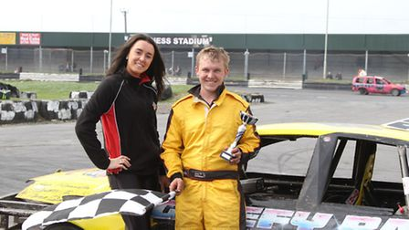 Jacob Downey is presented with a trophy by Hannah Godfrey. Picture: KW PHOTOS