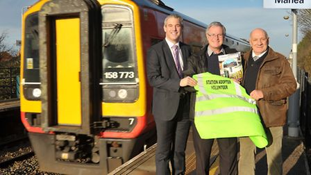 Manea train station. Left: MP Steve Barclay, Peter Townrow station adopter and Steve Emery Chairman