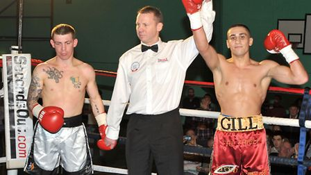 Jordan Gill wins his British Masters title against Michael Stupart. Picture: Steve Williams.