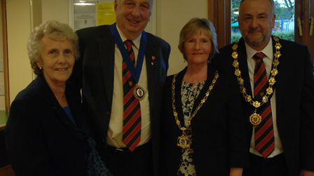 Far right: Great Dunmow's new mayor, Jonathan Cadwallader, with wife, Donna, and new deputy mayor, B