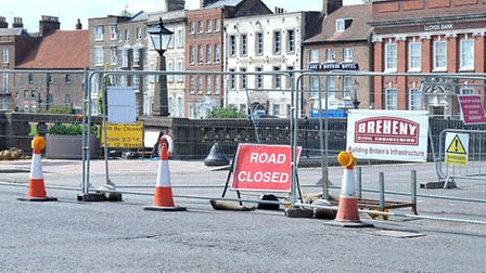 Wisbech town bridge closure, Work carried out on defence wall and drainage pipes. Picture: Steve Wil