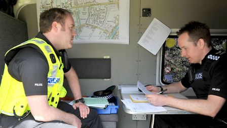 Una Crown Press conference.Wisbech. Mobile police station being used as operaration control.Picture