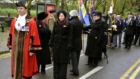 Mayor of March Cllr Andrew Pugh leading the Remembrance Day Parade
