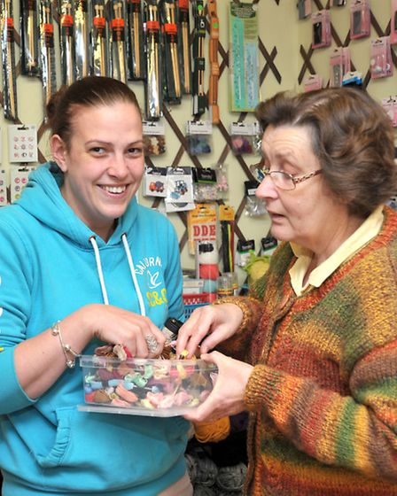 Yarn shop day, Left: Customer Rebecca Amps buying goods from Elaine Palmer of Curtis Yarns,Ely. Pic