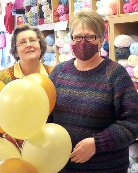 Yarn shop day, Left: Elaine Palmer and Barbara Curtis, of Curtis Yarns,Ely. Picture: Steve Williams.