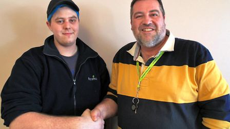 Kearon Dixon, left, with Andrew Richards, Westry site operations leader.