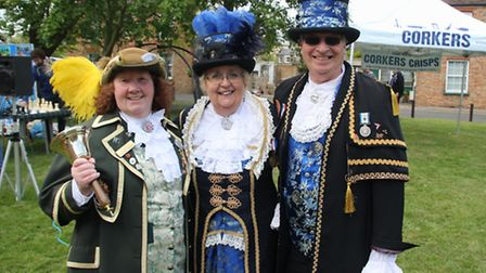 Brenda Willison, town crier of Newmarket, with Avril Hayter-Smith, Ely's town crier and husband Grah
