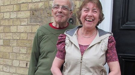 Terry and Shirley Overall, with the new plaque, outside the Poets House hotel.