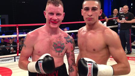 Jordan Gill, right, with Michael Mooney who he beat in Sheffield.