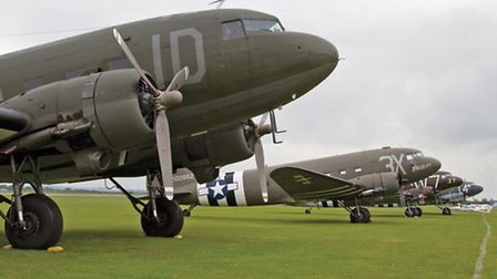 IWM_2014_025_004 a line-up of Douglas C-47 Skytrains on the airfield at IWM Duxford. Image copyrigh