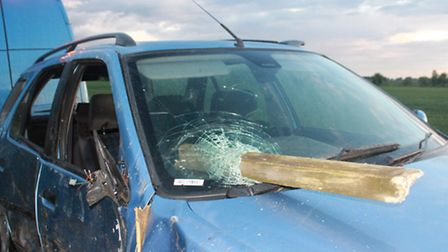 The car windscreen was impaled by a fence. Picture: Fleur_De_lyys_Photography.