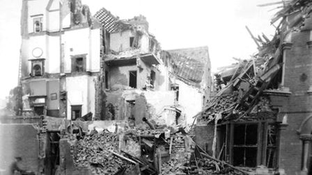 An archive picture showing the damage caused by a Zeppelin during an air attack.