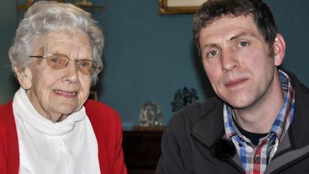 Presenter Ben Robinson with 102-year-old Doris Cobban, who remembers the Zeppelin attacks.