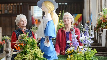 Sisters June Collison and Rita Day at the Walpole Saint Peter Flower Festival. Picture: Ian Burt