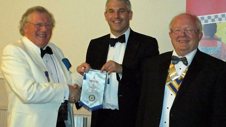 Peter English MBE, MP Steve Barclay and president Peter Bennett. Picture: TONY POTTER.