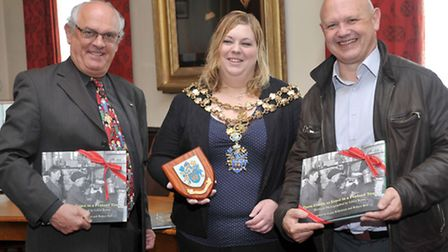 Presentation to Arles Twinning Club president at the Wisbech Town Council chamber. Left: Jean-Claud