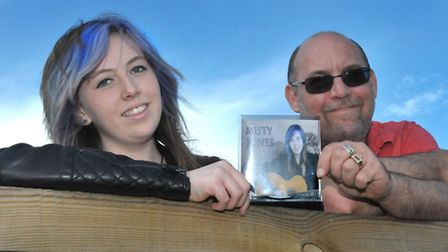 Singer Misty Jones at the Cherry Tree recording studio. with her CD and Studio owner Jed Wild.Pictur