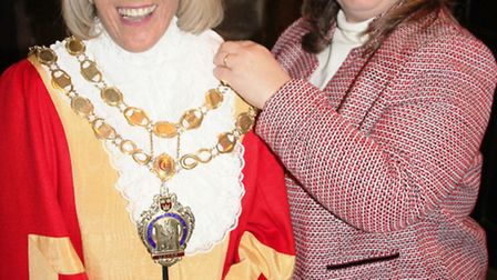 Cllr Lis Every, the mayor of Ely, with out-going mayor, Cllr Elaine Griffin-Singh.