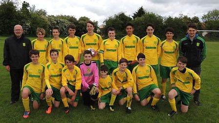 Dunmow Rhodes Lions U15: Back row from left, Russ Alexander (manager), Sam Duberry, Sam Hockley, Ad