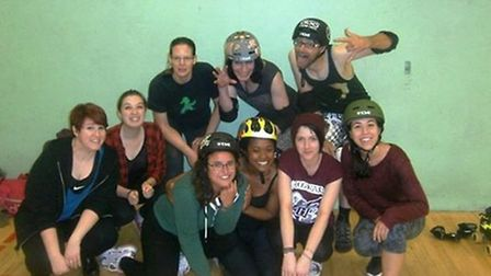 Nicola Brooke, back row, middle, with her Cambridge Rollerbillies colleagues