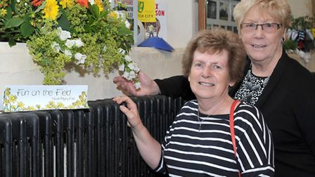 St Peters church Flower show. Upwell. Left: Penny Waldock, Joy Smalley. Picture: Steve Williams.