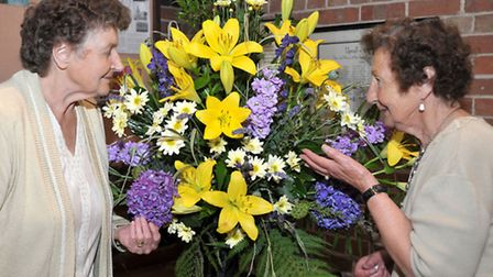 Christchurch Festival of Flowers at Christchurch parish church. Sheila Smart and May Reeder. Picture