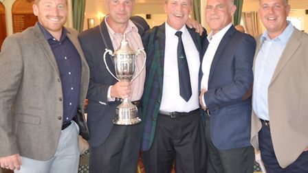 From left to right, Paul Rutherford, Richard Last, club captain Geoff Powdrill, Alan Cansell and Gar