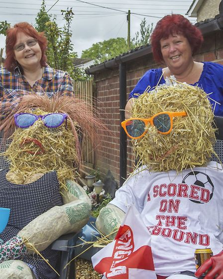 Scarecrow competition and yard sale at Elm and Friday Bridge. Left: Jan Begbie, Brenda Rust