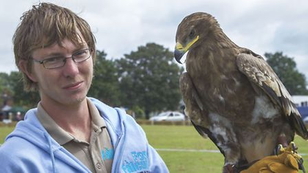 Gorefield Show. Mike Willis from Fens Falconry in Wisbech St Mary with 4 year old Gilbert.