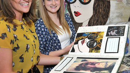 Cromwell college Chatteris,Year 11 GCSE panels from Art and Design. Left: Art teacher Natalie Smith